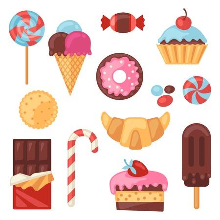 Set van kleurrijke diverse snoep, snoep en gebak. Stock Illustratie
