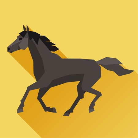 Background with horse running in flat style. Vector