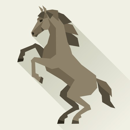 Background with horse standing in flat style. Vector