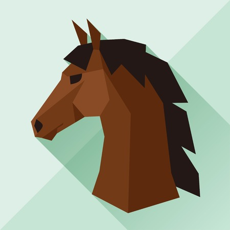 Background with horse head in flat style. Vector