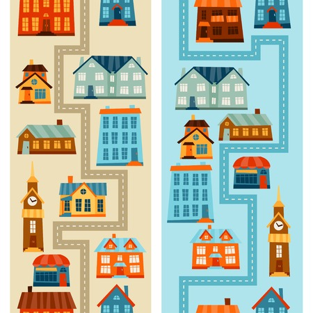 driveway: Town seamless patterns with cute colorful houses.
