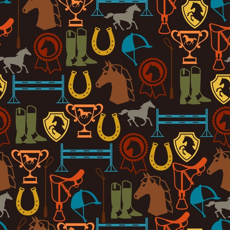 hoof: Seamless pattern with horse equipment in flat style.