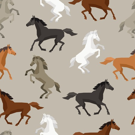 Seamless pattern with horse in flat style. Ilustração