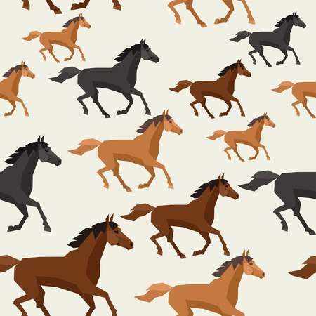 Seamless pattern with horse running in flat style. Vector