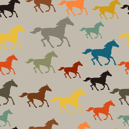 dressage: Seamless pattern with horse running in flat style.
