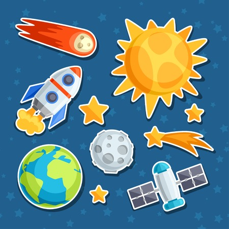 star icon: Cosmic icon set of solar system, planets and celestial bodies.