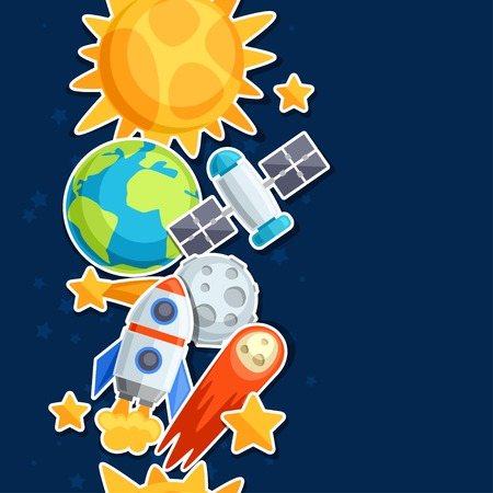 sonne mond und sterne: Nahtlose Muster von Sonnensystem, Planeten und Himmelskörper. Illustration