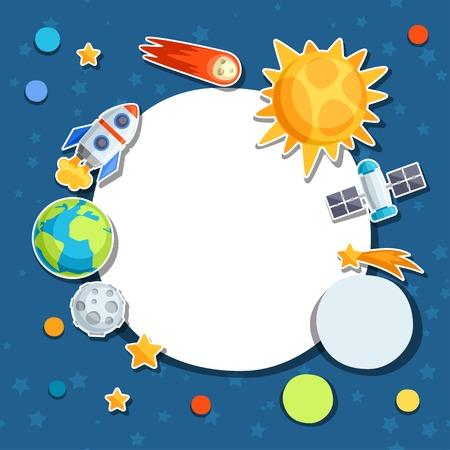 Antecedentes del sistema solar, los planetas y cuerpos celestes. Ilustración de vector
