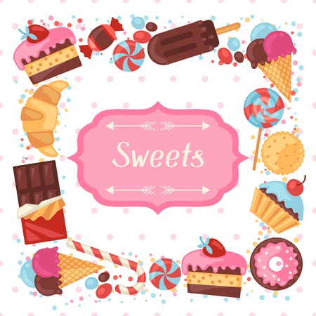 Background with colorful various candy, sweets and cakes. Vector