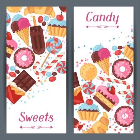 Vertical banners with colorful candy, sweets and cakes. Vector