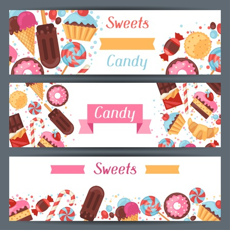 Horizontal banners with colorful candy, sweets and cakes. Vector