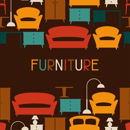 Interior seamless pattern with furniture in retro style. Vector