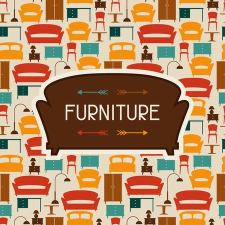poster bed: Interior background with furniture in retro style.
