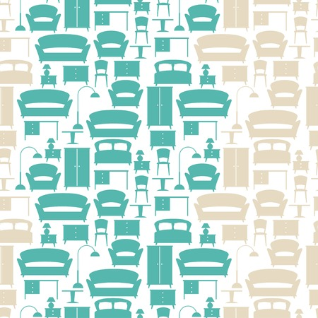 furnishings: Interior seamless pattern with furniture in retro style.