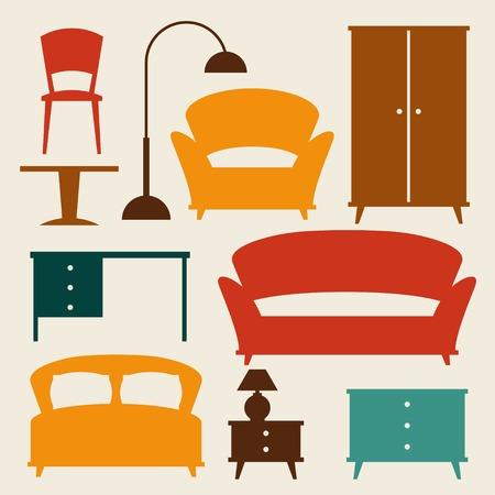 Interior icon set with furniture in retro style. Vector