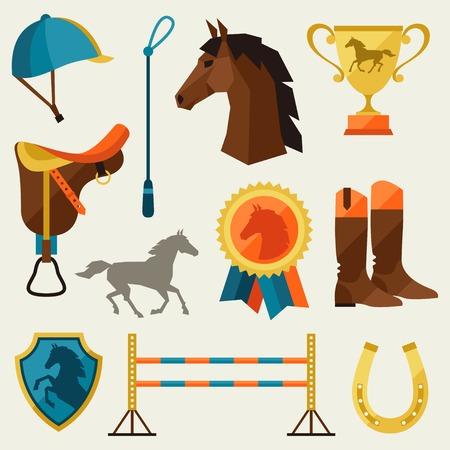 Icon mit Pferdeausrüstung in flachen Stil. Standard-Bild - 33063684