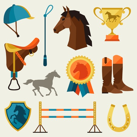 objects equipment: Icon set with horse equipment in flat style.