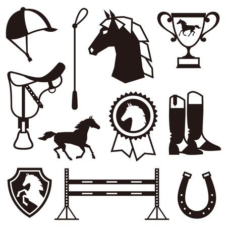 Icon set met paardenhouderij in vlakke stijl.