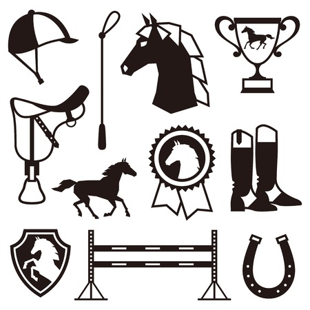 whip: Icon set with horse equipment in flat style.