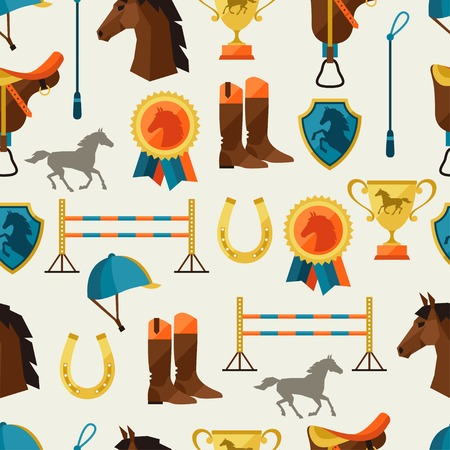riding boot: Seamless pattern with horse equipment in flat style.