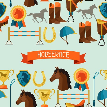 saddle: Seamless pattern with horse equipment in flat style.