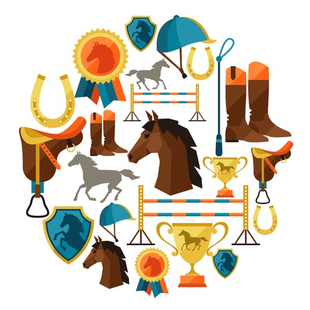 Background with horse equipment in flat style. Vettoriali