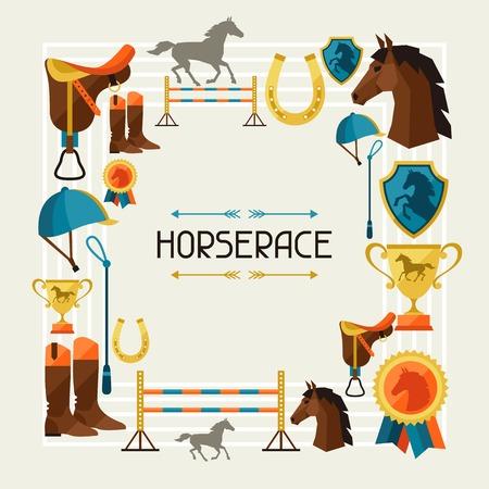 Cadre avec équipement pour le cheval dans le style plat. Illustration