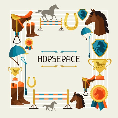 Horses: Frame with horse equipment in flat style. Illustration