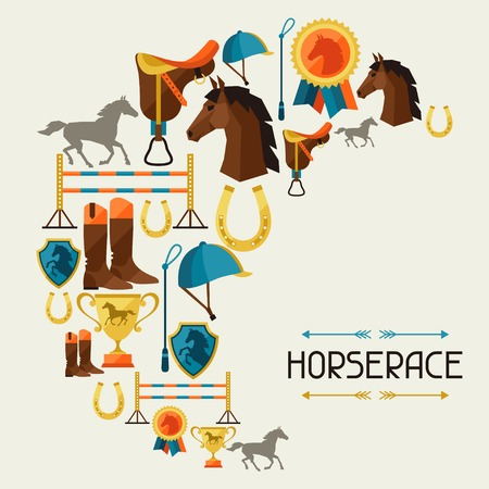 saddle: Illustration with horse equipment in flat style.