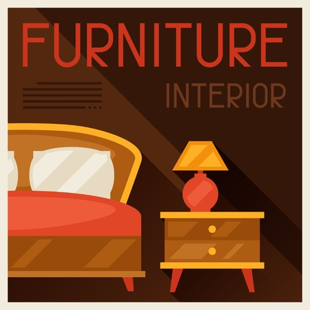 poster bed: Interior illustration with furniture in retro style.