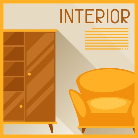furnishing: Interior illustration with furniture in retro style.