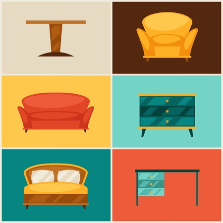 Interior icon set with furniture in retro style. Vector