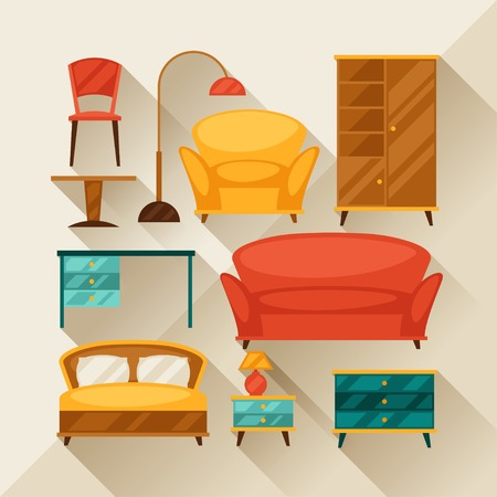 settee: Interior icon set with furniture in retro style. Illustration