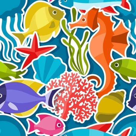 Marine life sticker seamless pattern with sea animals. Illustration