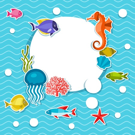 Marine life sticker background with sea animals. Vector