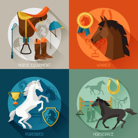 accessories horse: Backgrounds with horse equipment in flat style. Illustration