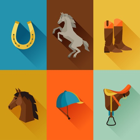 riding boot: Icon set with horse equipment in flat style.