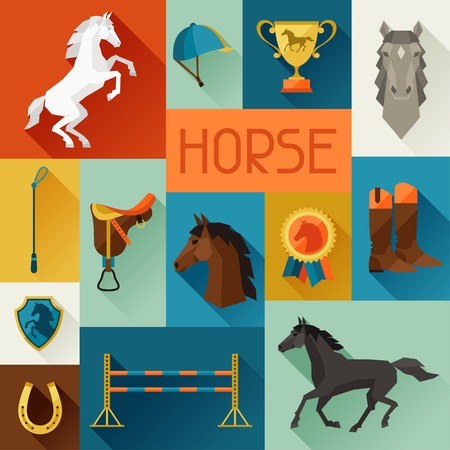 riding boot: Background with horse equipment in flat style. Illustration