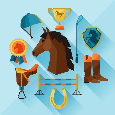 accessories horse: Icon set with horse equipment in flat style.