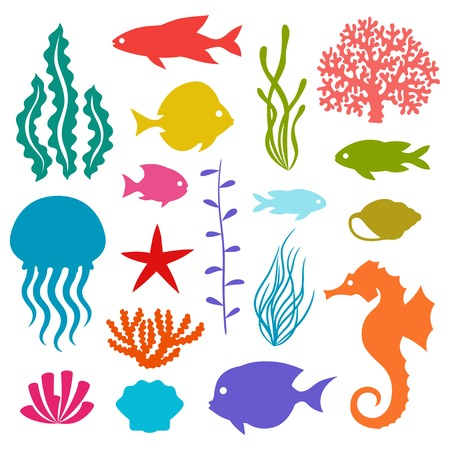 Marine life set of icons, objects and sea animals. Vector