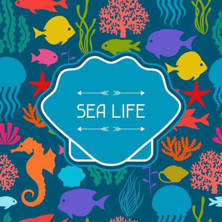 alga: Marine life background design with sea animals.