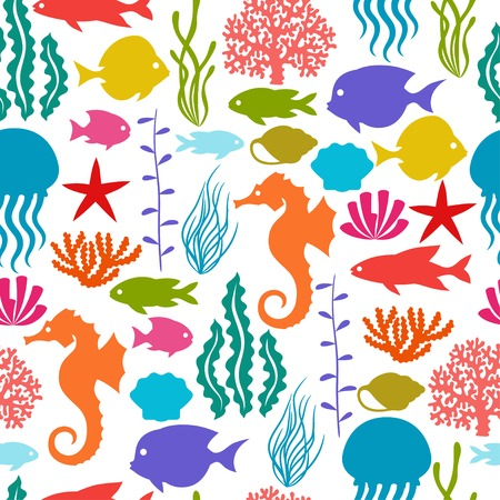 Marine life seamless pattern with sea animals. Vector