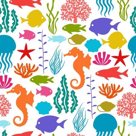 Marine life seamless pattern with sea animals. Vector