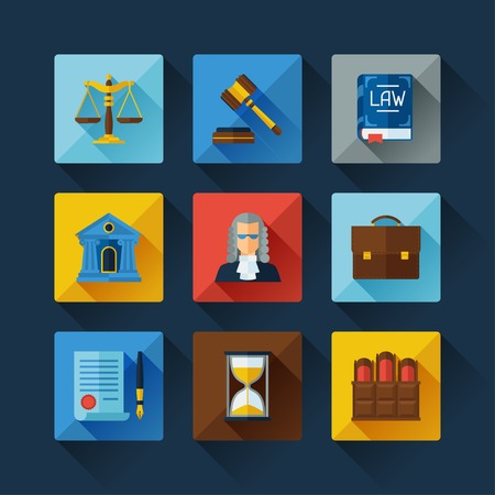 lawyer in court: Law icons set in flat design style.