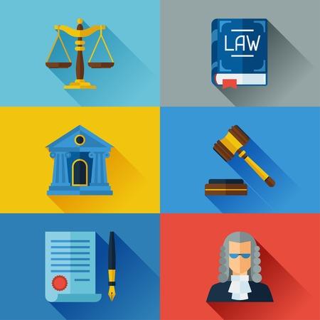 martillo juez: Iconos Ley establecen en el estilo de dise�o plano.