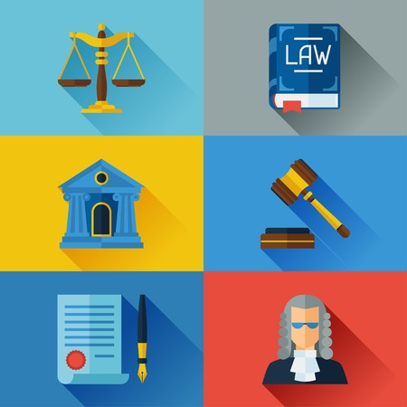 law: Law icons set in flat design style.