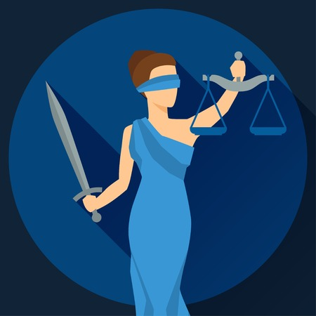 Lady justice illustration in flat design style. Çizim