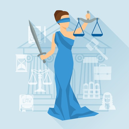 trial: Lady justice illustration in flat design style. Illustration