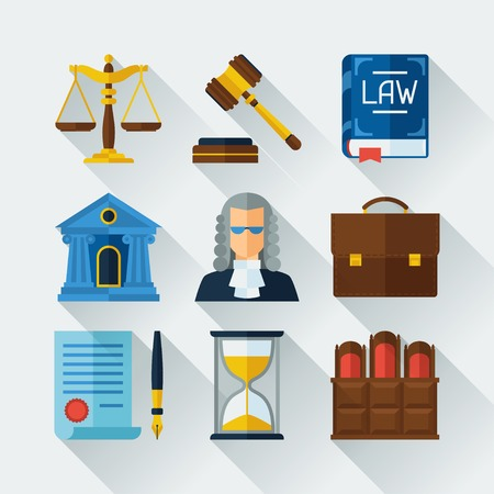 law books: Law icons set in flat design style.