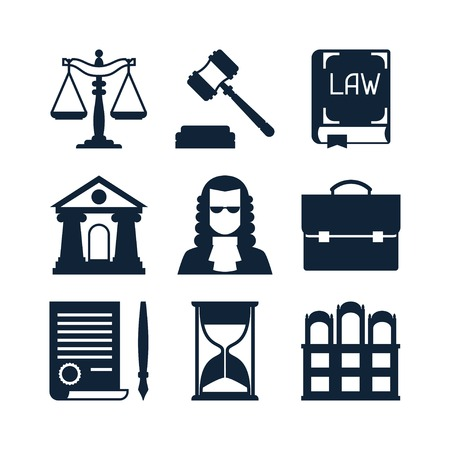 tribunal: Law icons set in flat design style.